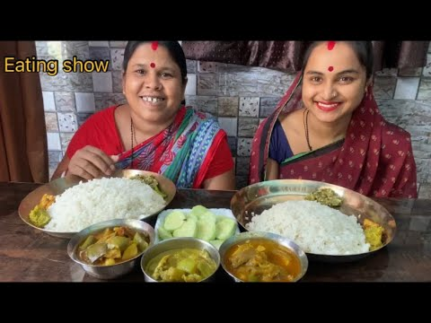 Eating show Bengali food vegetable Fish curry fish egg eating delicious food