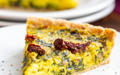Vegan Quiche Recipe with Mushrooms, Spinach and Leeks
